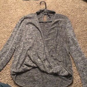 Chocker V neck open sweater long sleeve